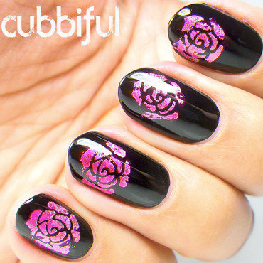 Foil stamping rose nails thumb370f