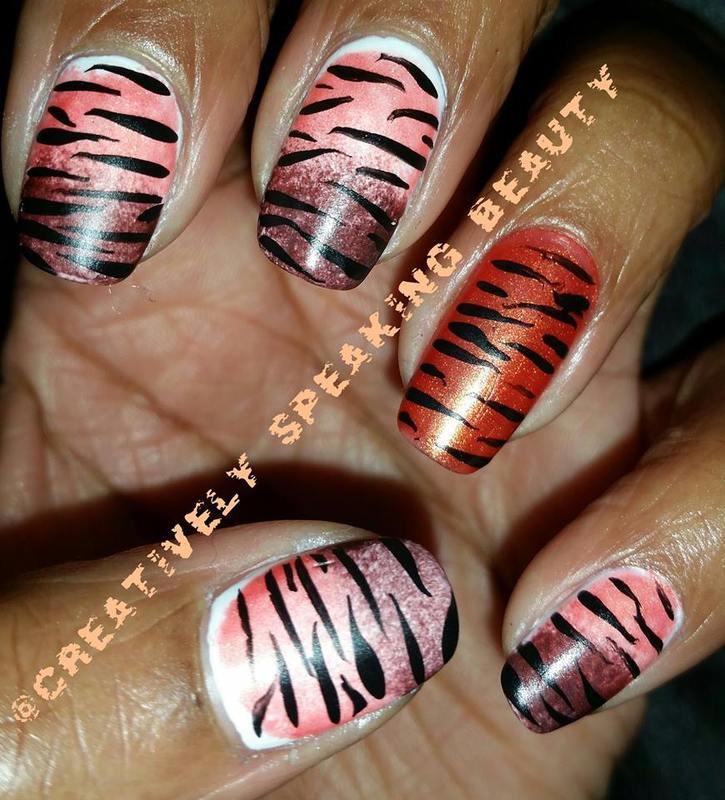 Tiger Stripes nail art by Kewani Granville