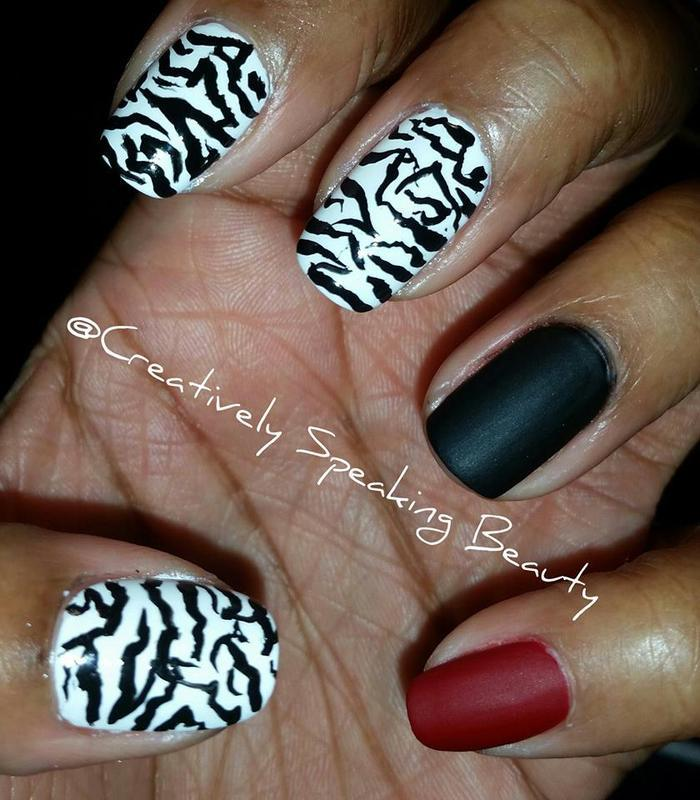 Zebra Stripes nail art by Kewani Granville