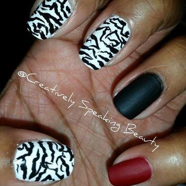 Zebra Stripes nail art by Kewani Granville