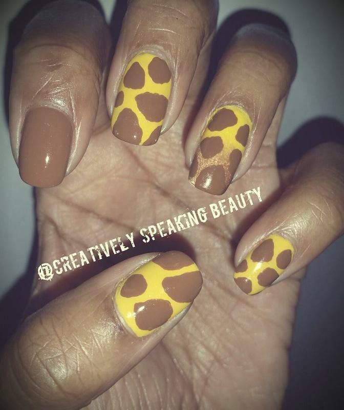 Giraffe Print nail art by Kewani Granville