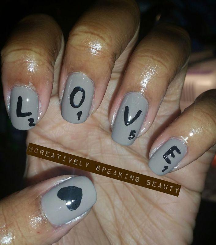 Scrabble Love nail art by Kewani Granville