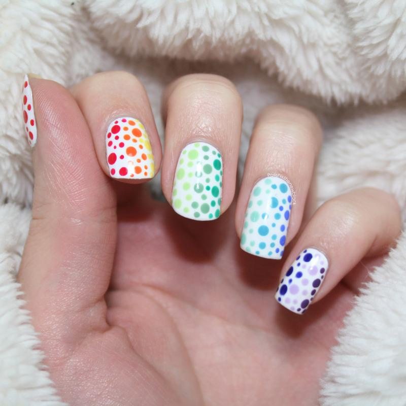 Rainbow Dotticure nail art by Polishisthenewblack