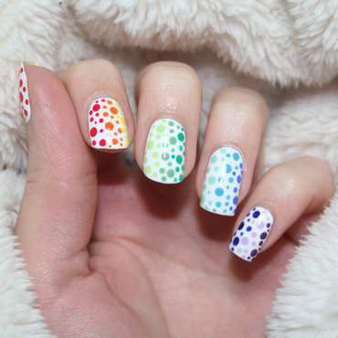 Rainbow Dotticure nail art by Polishisthenewblack