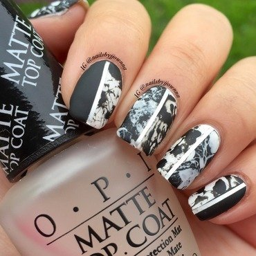 Black and white Splatter Nails nail art by Jonna Dee