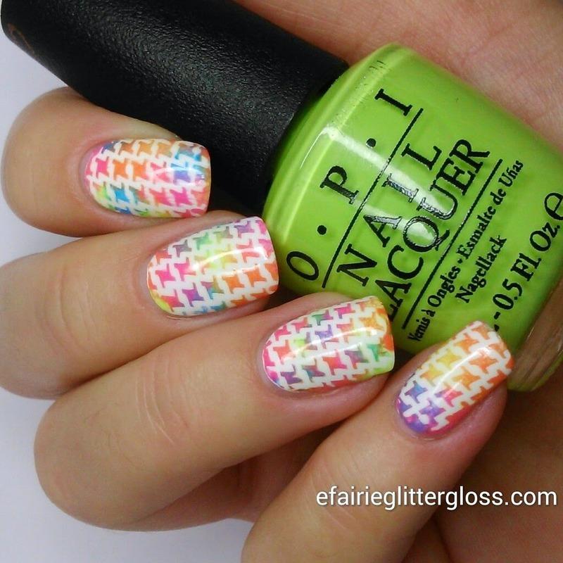 Rainbow Houndstooth nail art by Emma