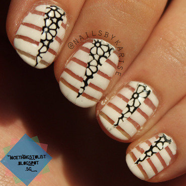 Negative space white stripes stamp floral nail art thumb370f