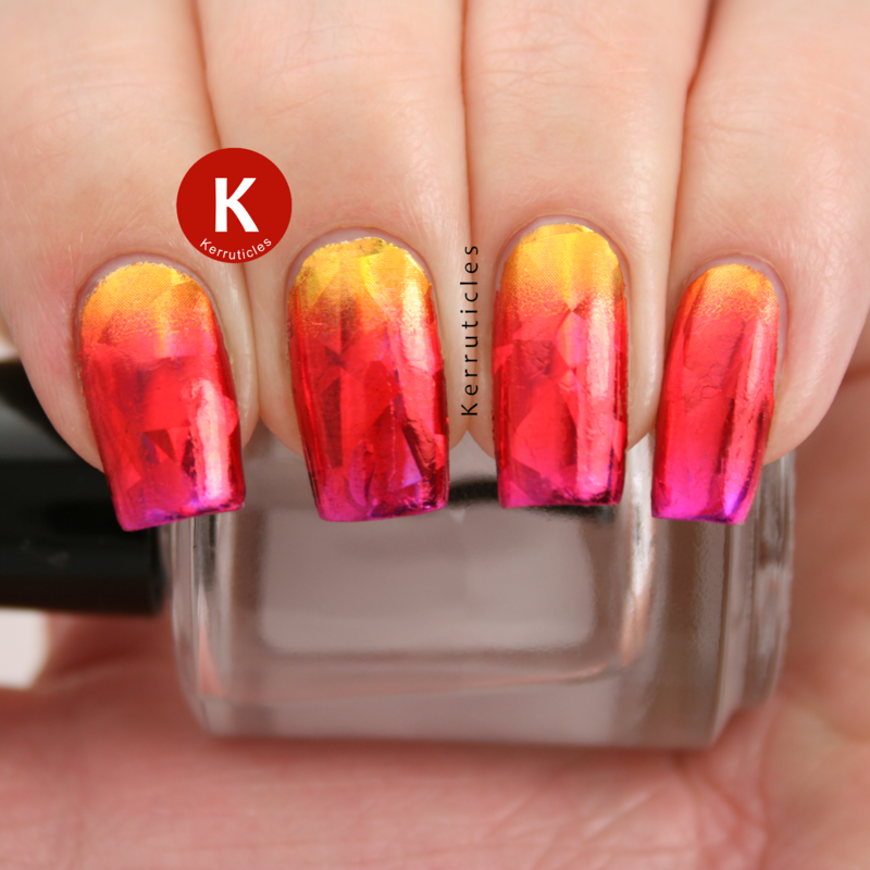 Gold, red and pink foil gradient nail art by Claire Kerr