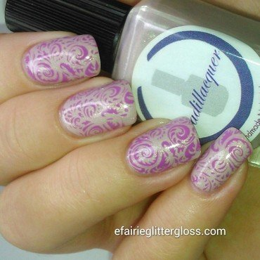 Pink Stamping nail art by Emma