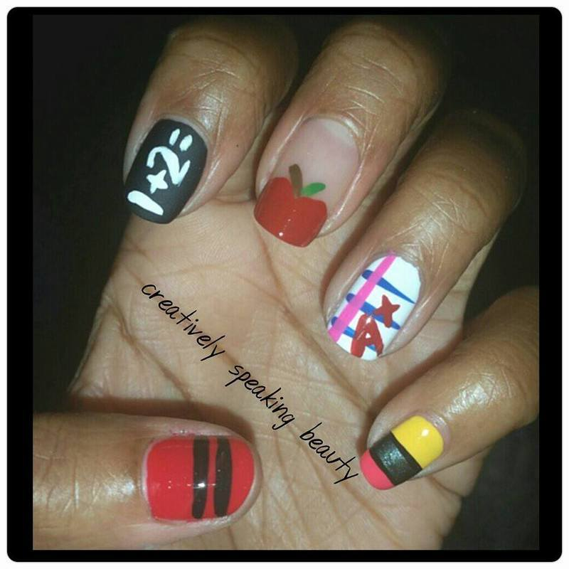 Back 2 School nail art by Kewani Granville