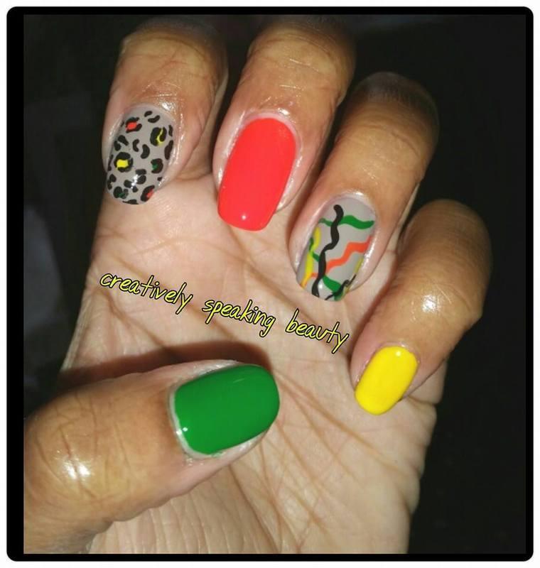 Colorful Curves nail art by Kewani Granville