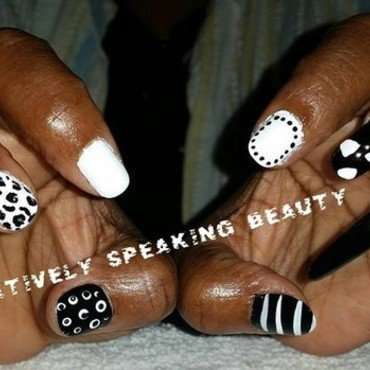 Black & White Tribal nail art by Kewani Granville
