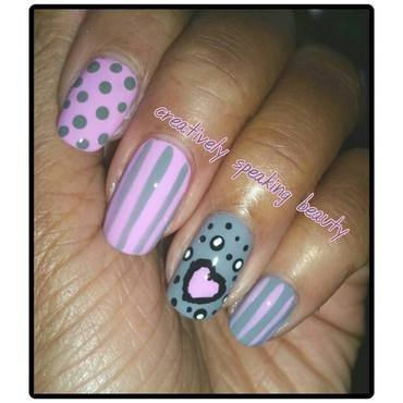 Pink & Gray Love nail art by Kewani Granville