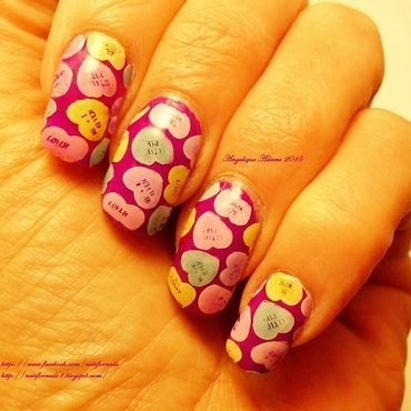 Conversation Hearts nail art by Angelique Adams