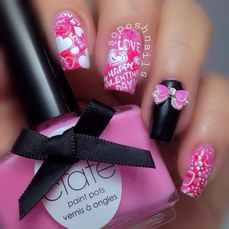 Valentine\'s Hearts and Bow nail art by Debbie - Nailpolis: Museum of ...