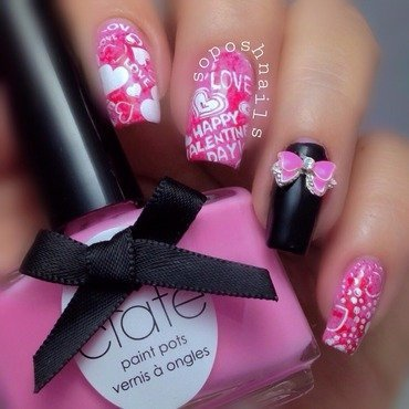 Valentine's Hearts and Bow nail art by Debbie