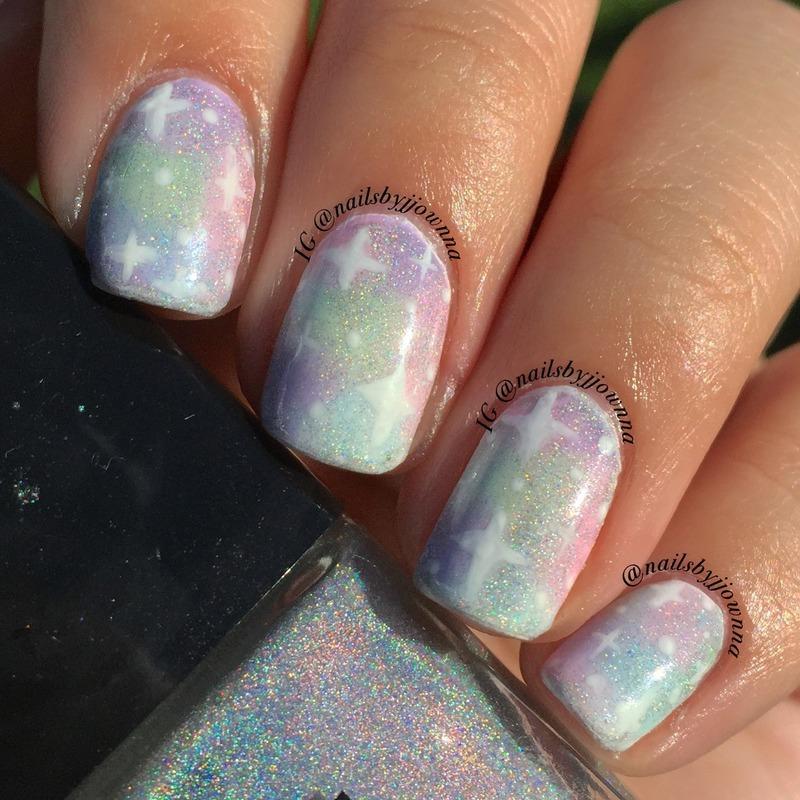 Pastel Galaxy nail art by Jonna Dee