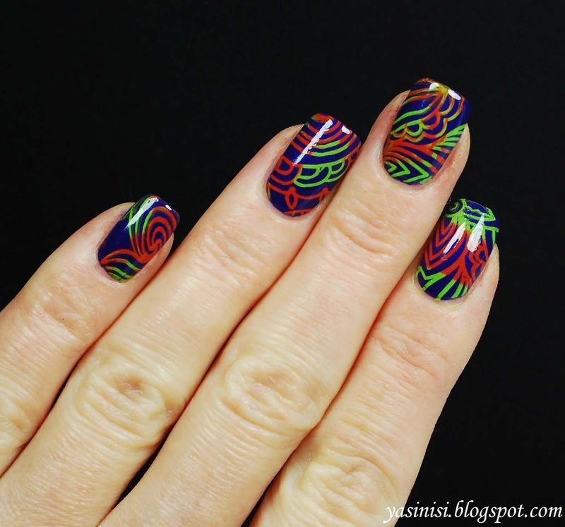 colourful stamping nail art by Yasinisi