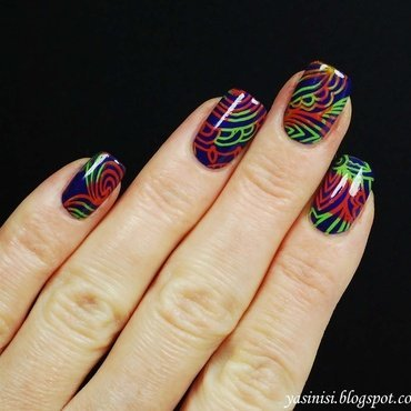 colourful stamping nail art by Yasinisi