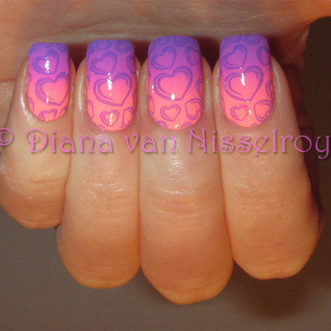 Neon heart nails nail art by Diana van Nisselroy