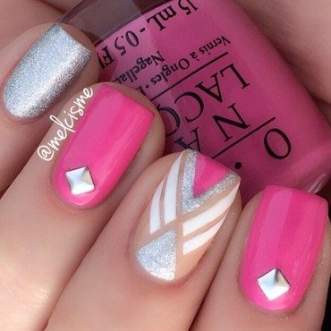 Pink tape design  nail art by Melissa