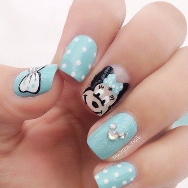 Minnie mouse nail art by Massiel Pena