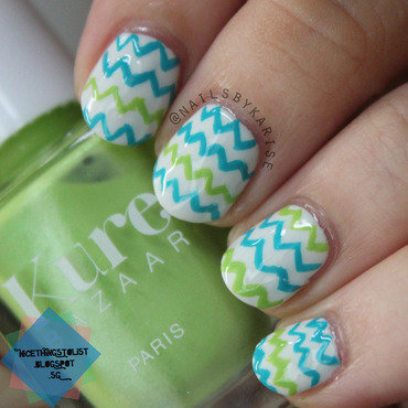 Green blue chevron washi tape inspired nail art thumb370f