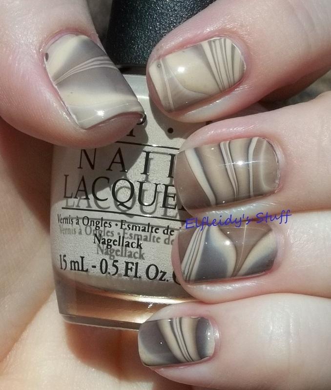 Chocolate and vanilla water marble nail art by Jenette Maitland-Tomblin