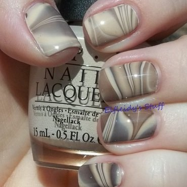Chocolate and vanilla water marble nail art by Jenette Maitland-Tomblin