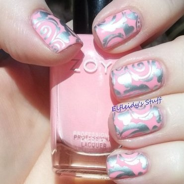 Pink with silver stamping nail art by Jenette Maitland-Tomblin
