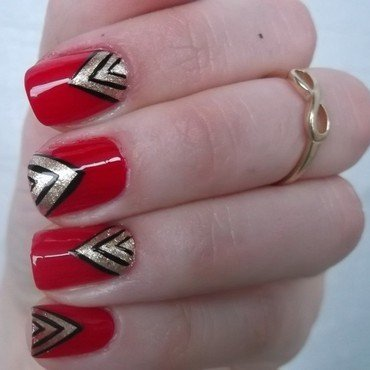 Classic red nail art by Sabina