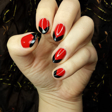 Black red chevron french nail art by sabbatha