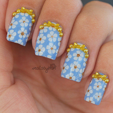 Flower Stamp nail art by xNailsByMiri