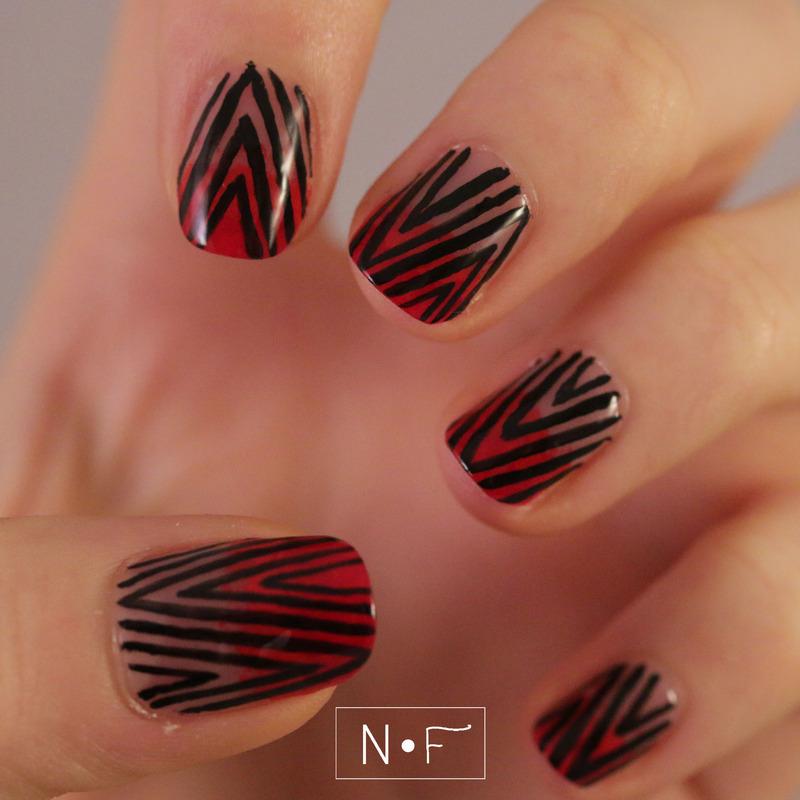 Chevron x gradient nail art by NerdyFleurty
