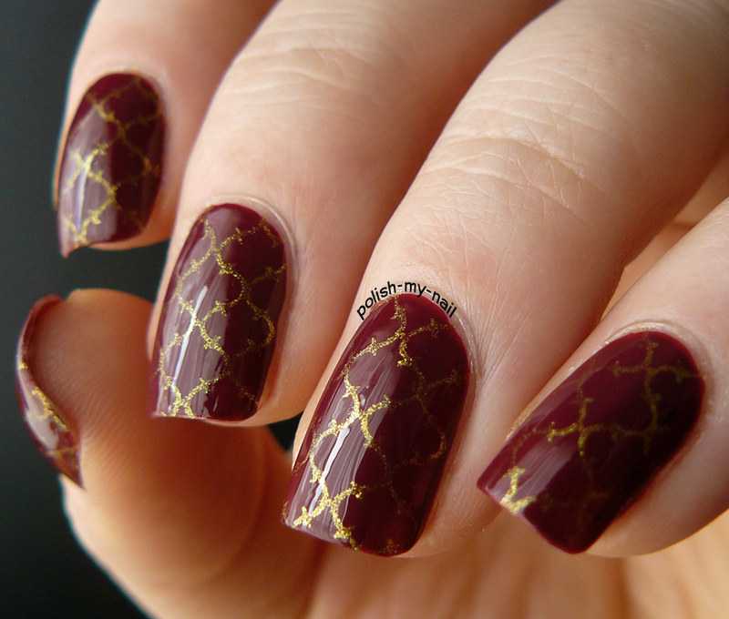 Gold Indian stamping nail art by Ewlyn