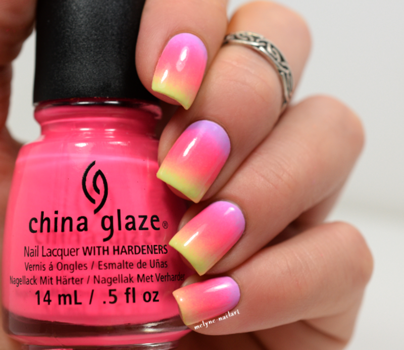 Summer gradient nails nail art by melyne nailart