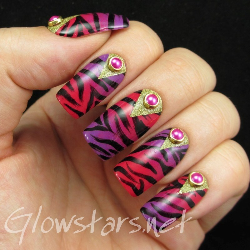 Zebra print gradient with glitter chevron half moons nail art by Vic 'Glowstars' Pires