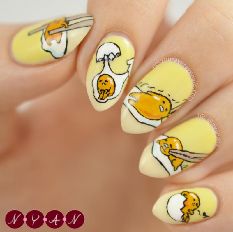 Gudetama nail art by Becca (nyanails)
