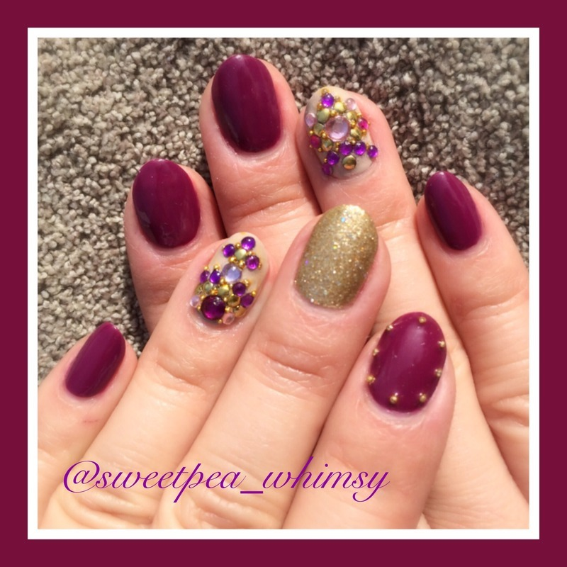 Plum Wine & Jewels nail art by SweetPea_Whimsy