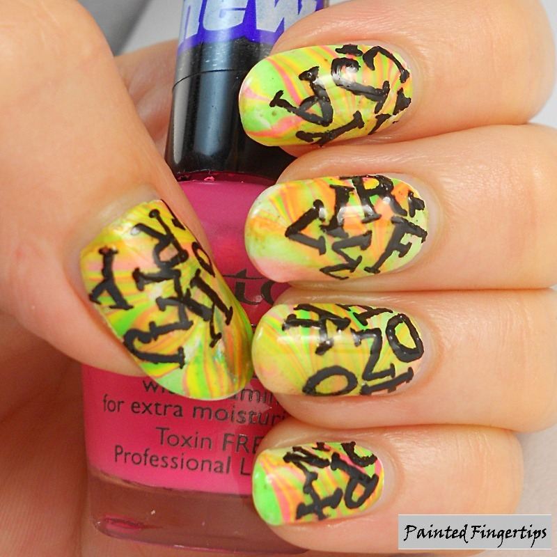 Freehand lettering nail art by Kerry_Fingertips