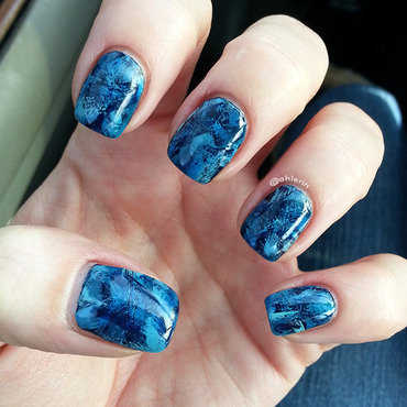 Blue dry brush nail art by Lindsay