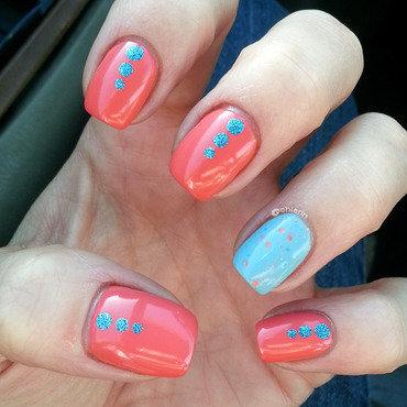 Coral and Blue nail art by Lindsay