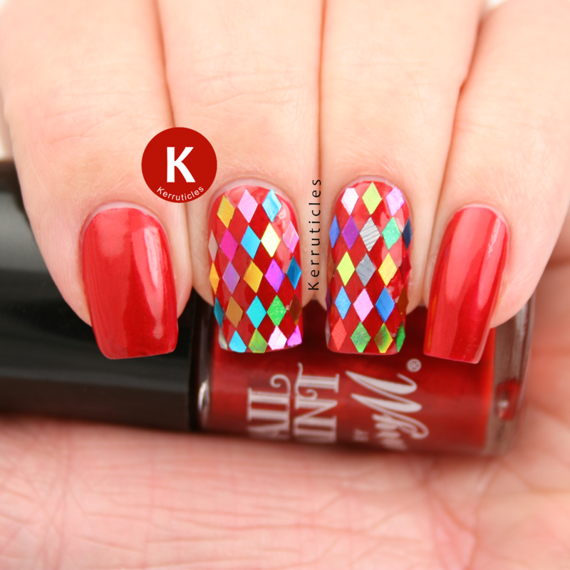 Red with multi-coloured diamond glequins nail art by Claire Kerr