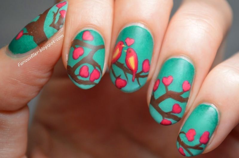 Enchanted forest nail art by Furious Filer