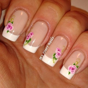 French with floral water decals nail art by Ewa