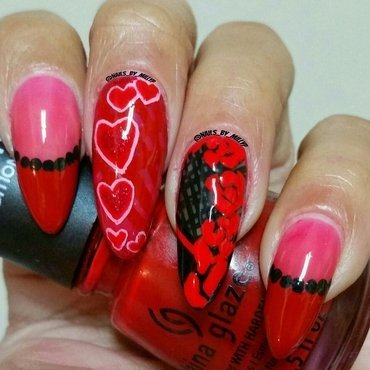 Hearts and Roses nail art by Milly Palma