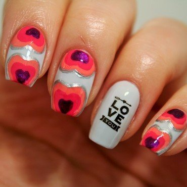 Hearts nail art by Jane