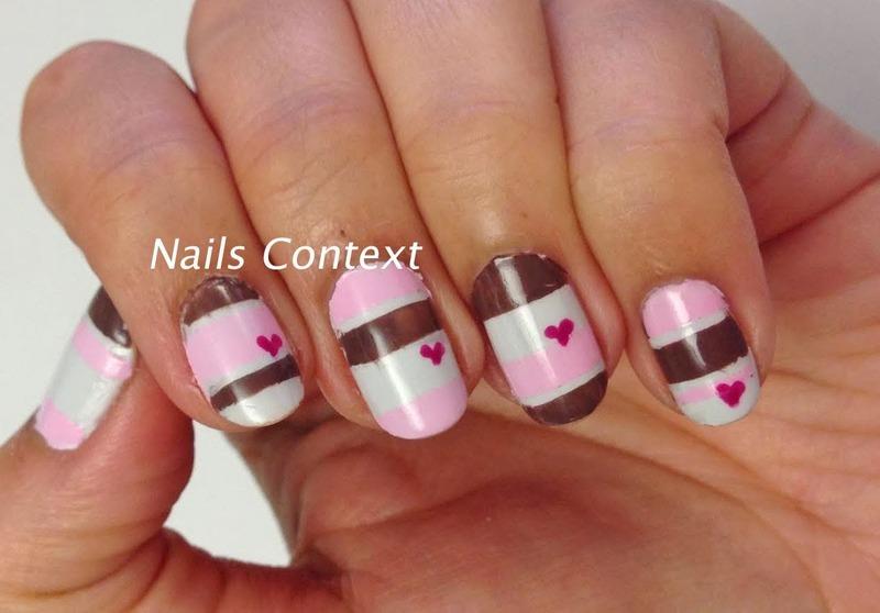 Valentine's Colorblock nail art by NailsContext