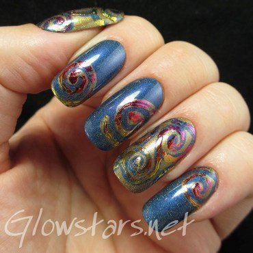 Foil swirls on holo nail art by Vic 'Glowstars' Pires