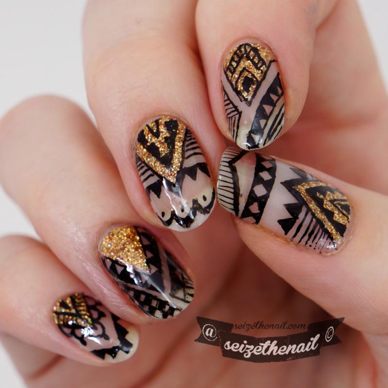 Aztec with gold nail art by Bella Seizethenail